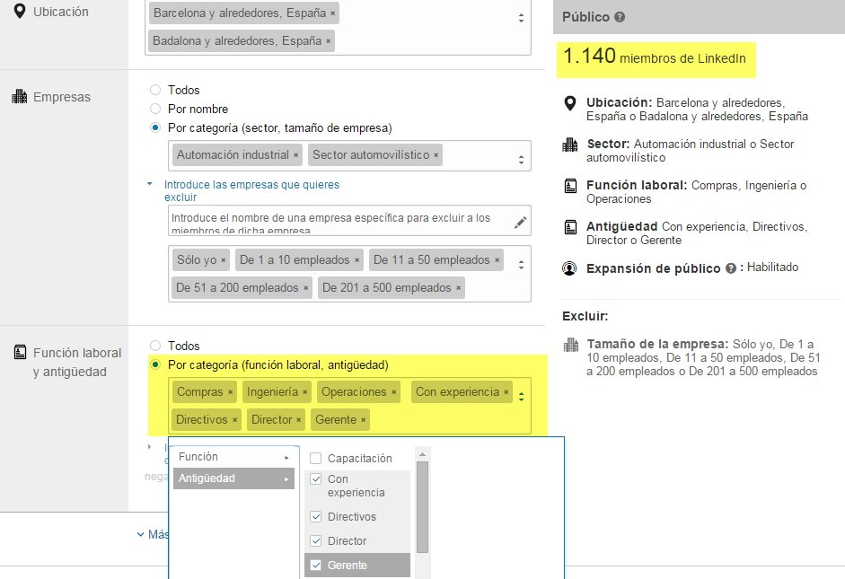 LinkedIn ads resultado Numero de buyer personas