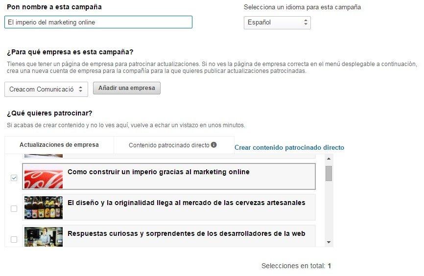 Patrocinio de contenido LinkedIn