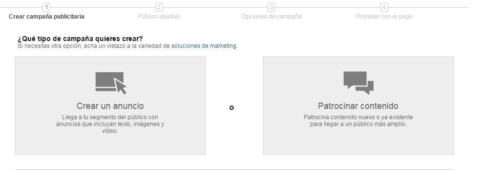 Tipo de campaña LinkedIn