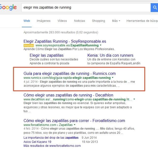 marketing de contenido ejemplo running