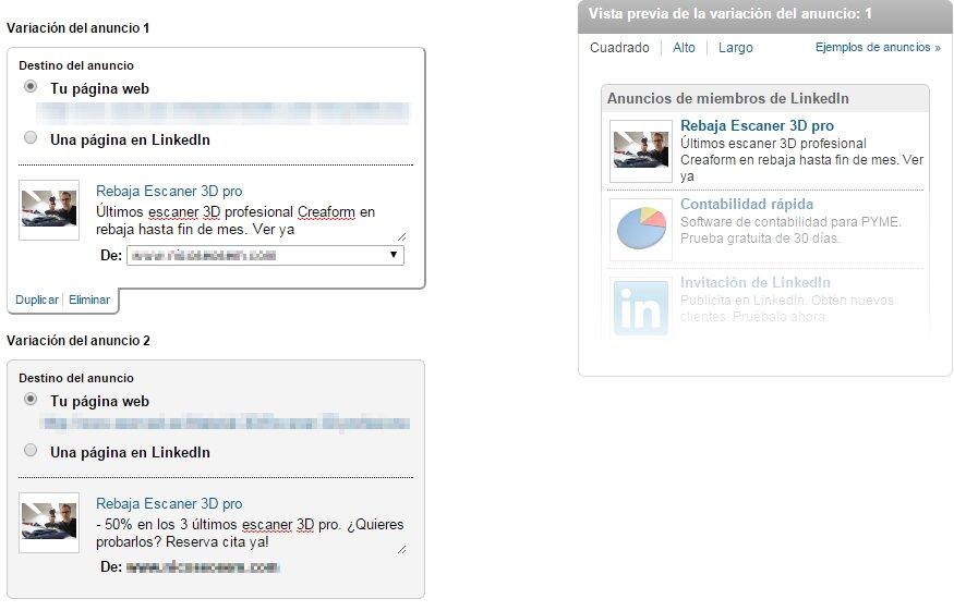 Tipo de anuncio en LinkedIn