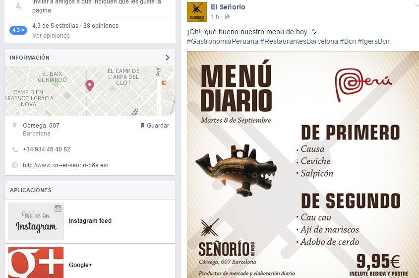 Restaurante en Facebook, Barcelona
