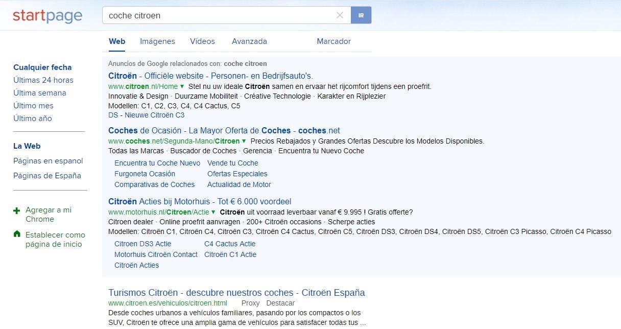 búsqueda coche citroen en buscador StartPage