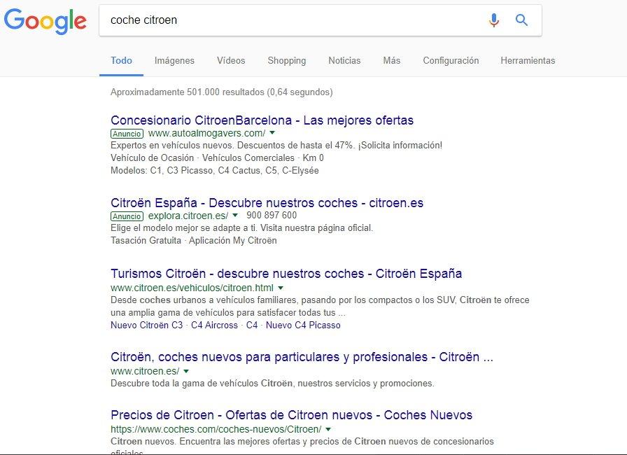 búsqueda internet coche citroen en Google