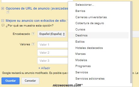 extensiones de extractos de sitio en google adwords