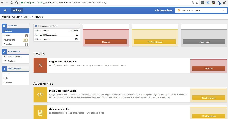 Errores de SEO de la web de bitcoin.org detectado con Sistrix.