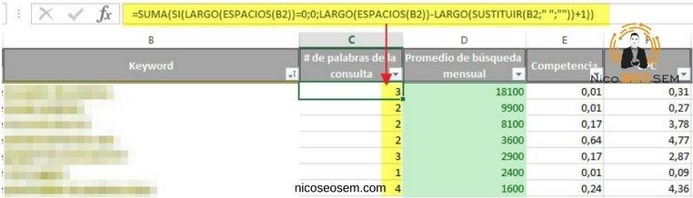 Formula para contar el número de palabras en Excel para tus keywords long tail